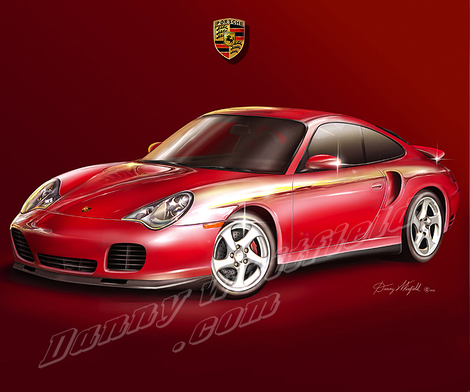2002 PORSCHE 911 TURBO ART PRINT BY DANNY WHITFIELD