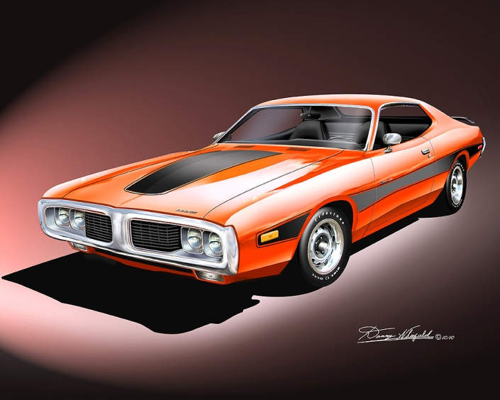 1973 Dodge Charger Art Print by danny Whitfield