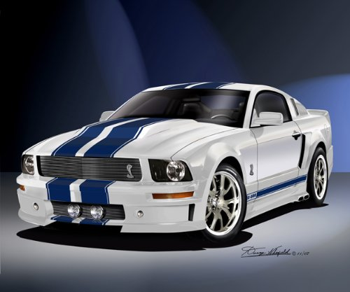 2007 MUSTANG ELEANOR PERFORMANCE WHITE CAR ART BY DANNY WHITFIELD