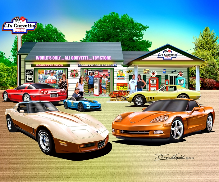 Congratulation to Chuck Kemmeth on the purchase of his Corvette Toy store art print.