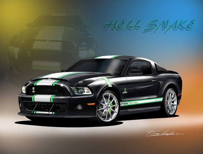THE AWESOME 2011 MUSTANG HELL SNAKE ART PRINT BY DANNY WHITFIELD