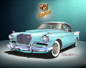 ITEM 25-A-3 1957 Studebaker Golden Hawk (Turquoise)