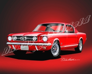 ITEM M-65-1 1965 MUSTANG  GT 2+2  BRIGHT RED