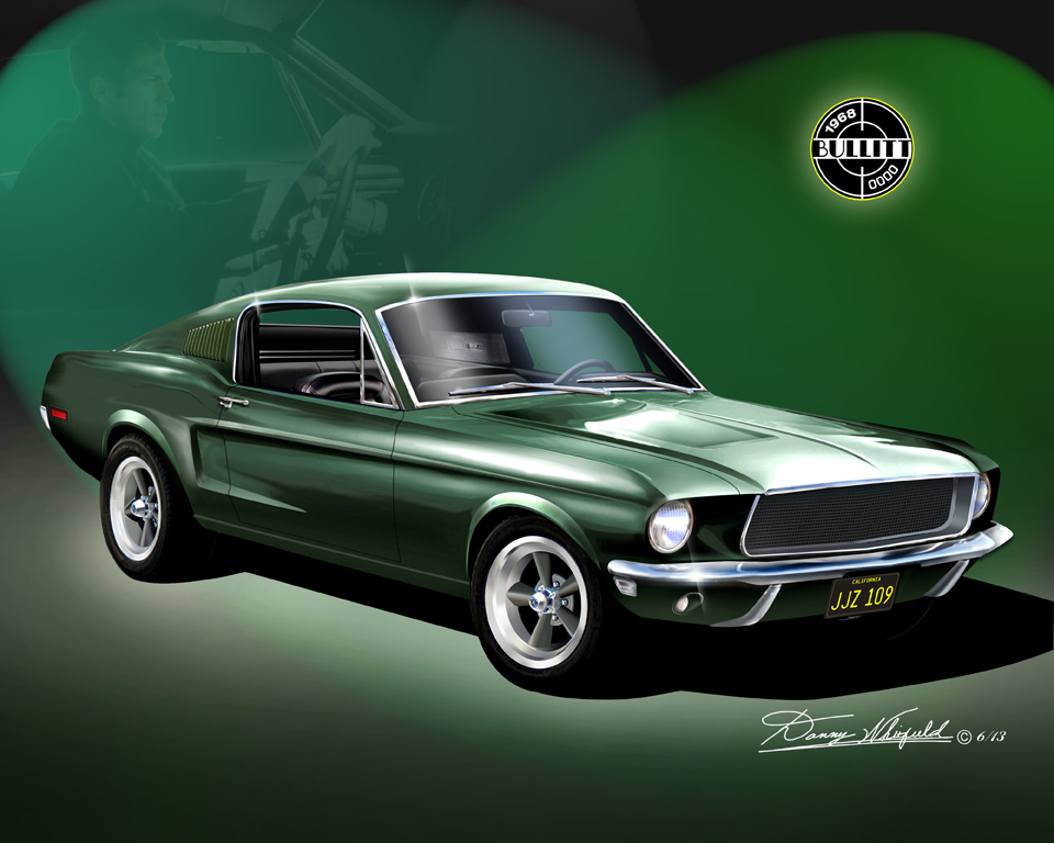 1968 mustang bullitt featuring steve mcqueen the automotive art of danny whitfield. Black Bedroom Furniture Sets. Home Design Ideas