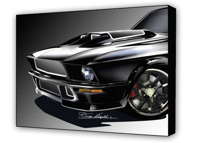 1967 OBSIDIAN MUSTANG-CLOSE UP ART PRINT BY DANNY WHITFIELD