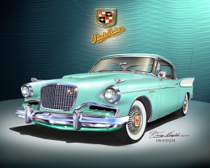 ITEM 25-A-8 1957 Studebaker Golden Hawk (Surf green)-2