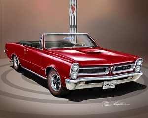 ITEM 5-X-3 1965 PONTIAC GTO CONVERTIBILE (Montero red)