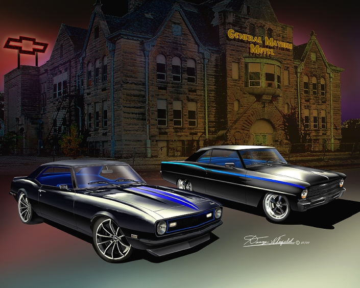 ITEM GMMC GENERAL MAYHEM MOTEL! THE AUTOMOTIVE ART OF DANNY WHITFIELD