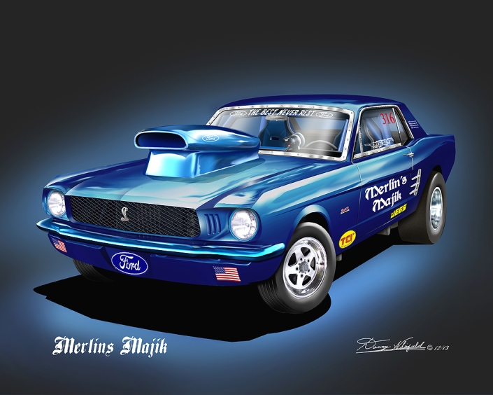 1966 FORD MUSTANG PRO STOCK ART PRINT BY DANNY WHITFIELD