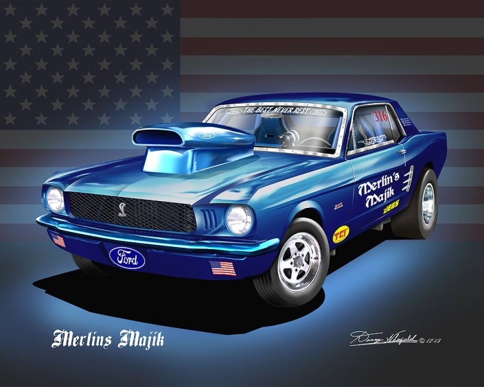 1966 FORD MUSTANG PRO STOCK ART PRINT BY DANNY WHITFIELD FEATURING THE AMERICAN FLAG