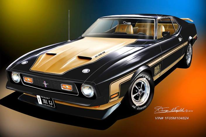 Gorgeous 1971 Mustang Art print by Danny Whitfield- Buy it here!
