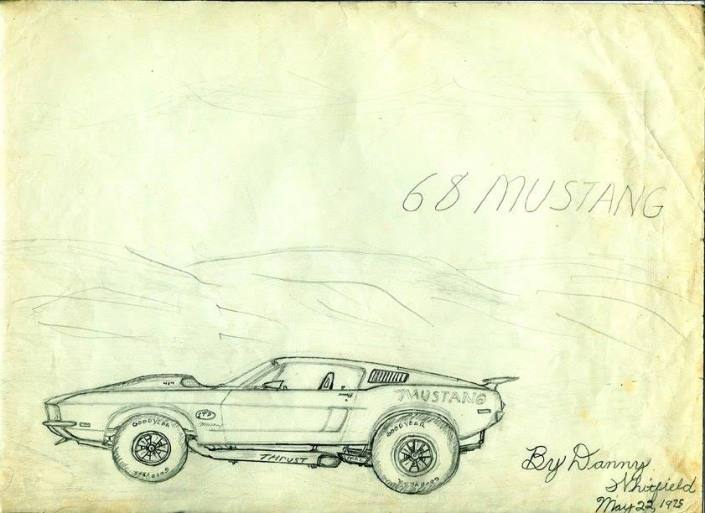 1968 Mustang drawn by danny Whitfield in 1975