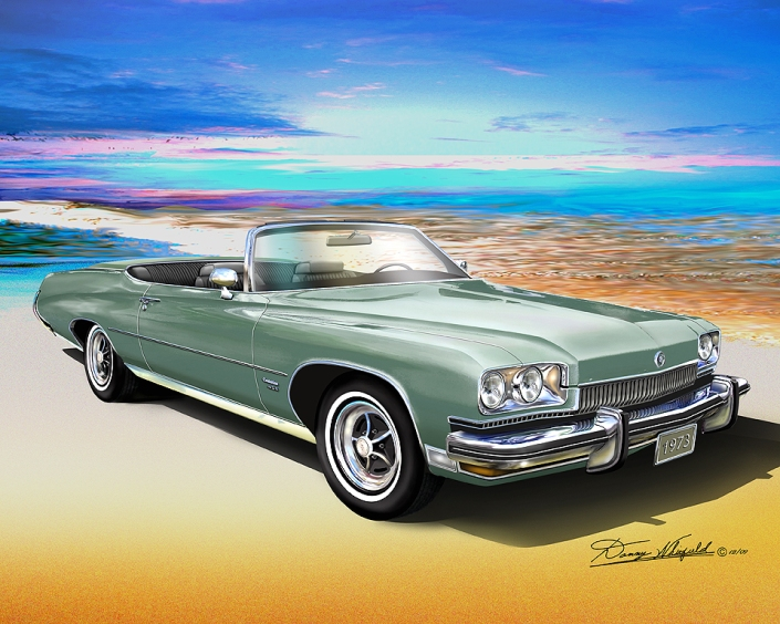 BUY THIS BEAUTIFUL 1973 BUICK CENTURION 455 CONVERTIBLE ART PRINT BY DANNY WHITFIELD!