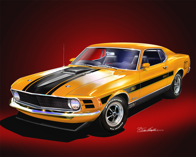 Buy the 1970 FORD MUSTANG (Twister Special) ART PRINT  BY DANNY WHITFIELD HERE!