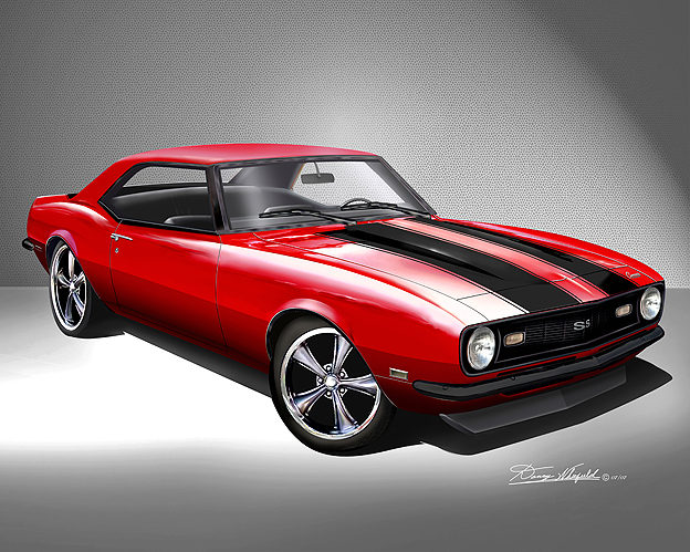 HOT CUSTOM 1968 CAMARO PRINT BY DANNY WHITIFELD