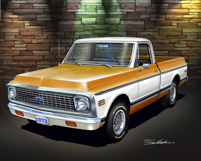 By this Chevy shortbed pickup Art Print at Danny Whitfield.com