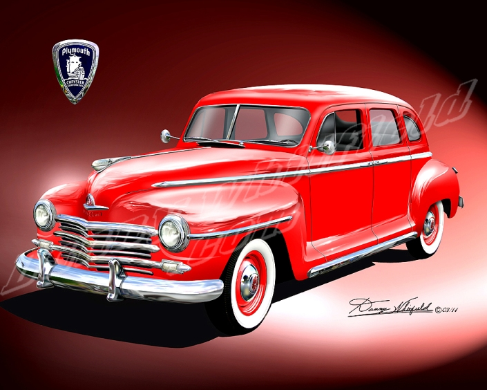 1947 PLYMOUTH ART PRINT BY DANNY WHITIFELD