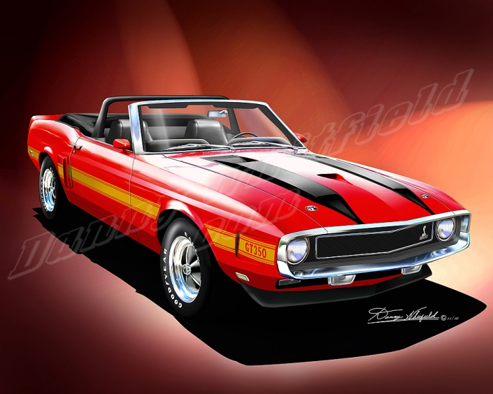 1970 Ford Mustang Shelby GT350 artwork by Danny Whitifled