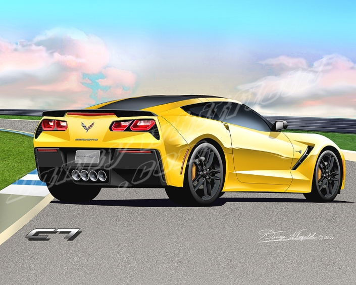 2014 CHEVROLET CORVETTE STINGRAY ART PRINT (REAR VIEW)