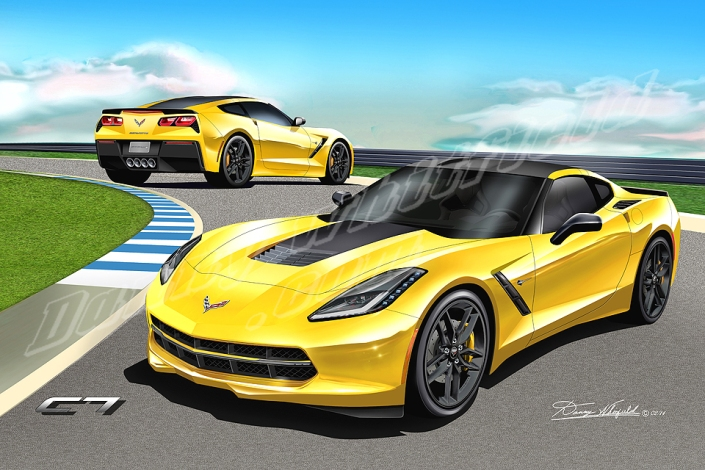 2014 CORVETTE ART BY DANNY WHITFIELD FORNT AND REAR VIEW