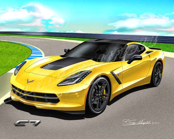 2014 CHEVROLET CORVETTE STINGRAY ART PRINT (FRONT VIEW)