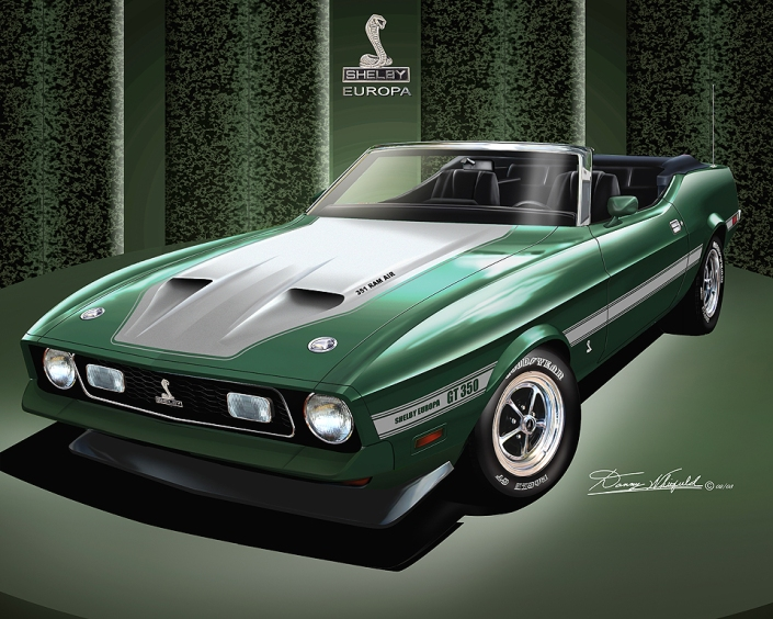 1971 - 1973 Ford Mustang $ Shelby artwork by Danny Whitifled