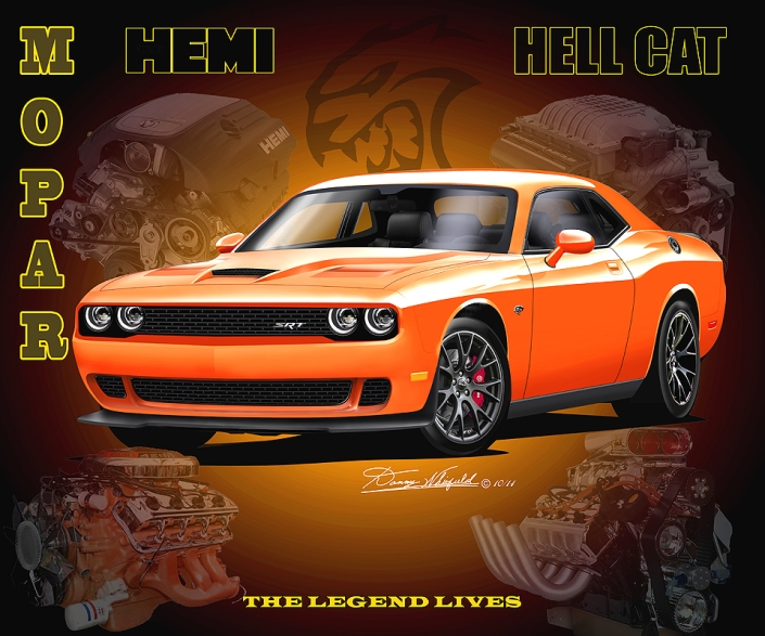 Black friday special 2015 dodge challenger hell cat art print by chrysler hemi engine 50 years artwork by danny whitifled sciox Image collections