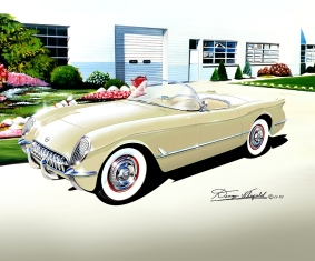 1953-1955 CORVETTE ART PRINT BY DANNY WHITFIELD