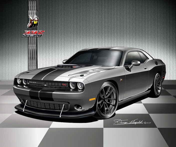 2015 - 2016 DODGE CHALLENGER 392 HEMI ART PRINT BY DANNY WHITFIE