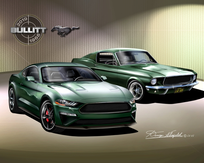 1968 - 2019 Mustang Bullitt - The legend Lives artwork master by