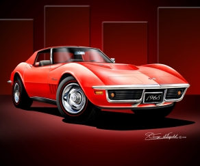 1968-1969 CORVETTE ART PRINT BY DANNY WHITFIELD